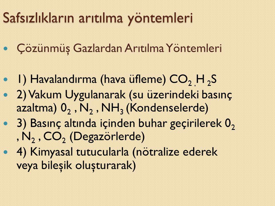 Safsızlıkların arıtılma yöntemleri  Çözünmüş Gazlardan Arıtılma Yöntemleri  1) Havalandırma (hava üfleme) CO 2, H 2 S  2) Vakum Uygulanarak (su üze