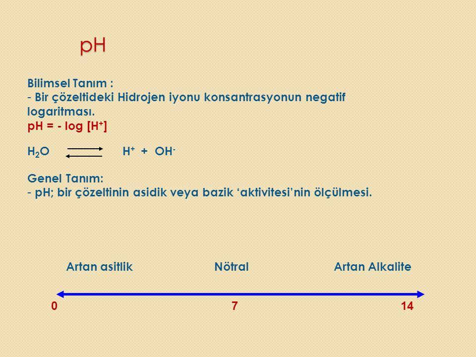 pH Bilimsel Tanım : - Bir çözeltideki Hidrojen iyonu konsantrasyonun negatif logaritması. pH = - log [H + ] H 2 O H + + OH - Genel Tanım: - pH; bir çö
