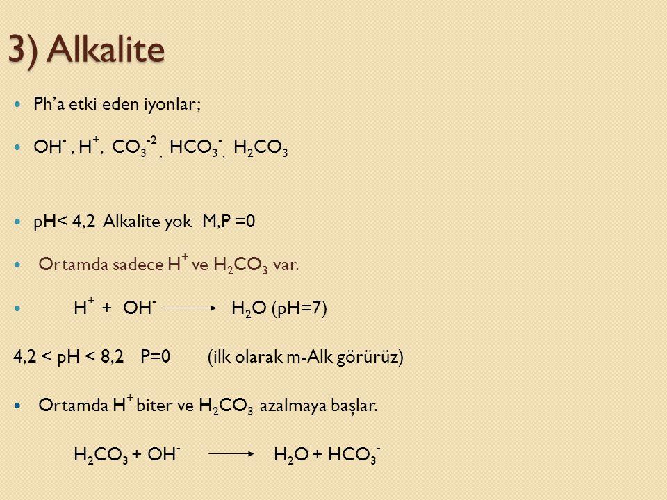  Ph'a etki eden iyonlar;  OH -, H +, CO 3 -2, HCO 3 -, H 2 CO 3  pH< 4,2 Alkalite yok M,P =0  Ortamda sadece H + ve H 2 CO 3 var.  H + + OH - H 2