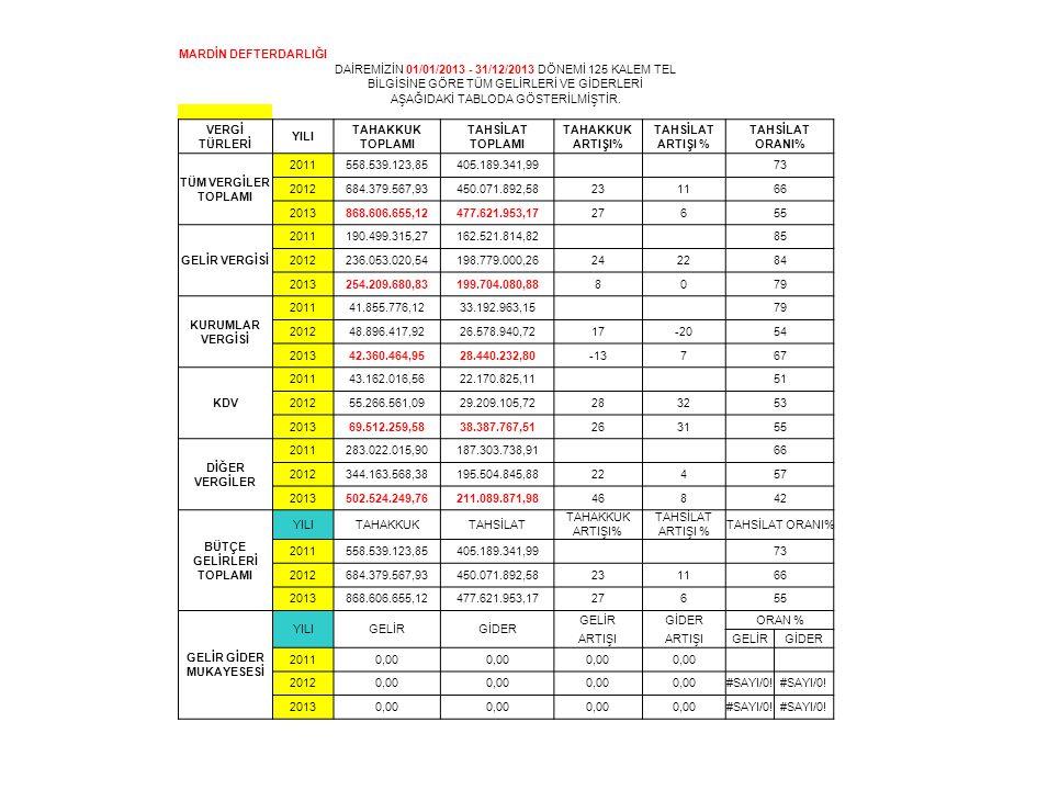 MARDİN DEFTERDARLIĞI DAİREMİZİN 01/01/2013 - 31/12/2013 DÖNEMİ 125 KALEM TEL BİLGİSİNE GÖRE TÜM GELİRLERİ VE GİDERLERİ AŞAĞIDAKİ TABLODA GÖSTERİLMİŞTİ
