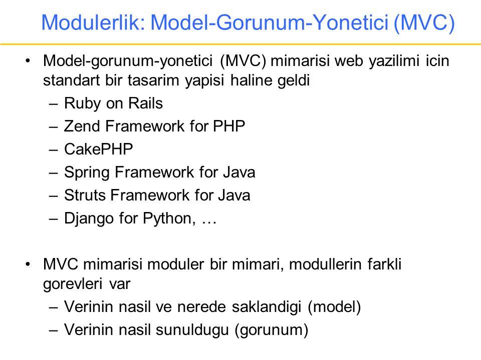 Modulerlik: Model-Gorunum-Yonetici (MVC) •Model-gorunum-yonetici (MVC) mimarisi web yazilimi icin standart bir tasarim yapisi haline geldi –Ruby on Ra
