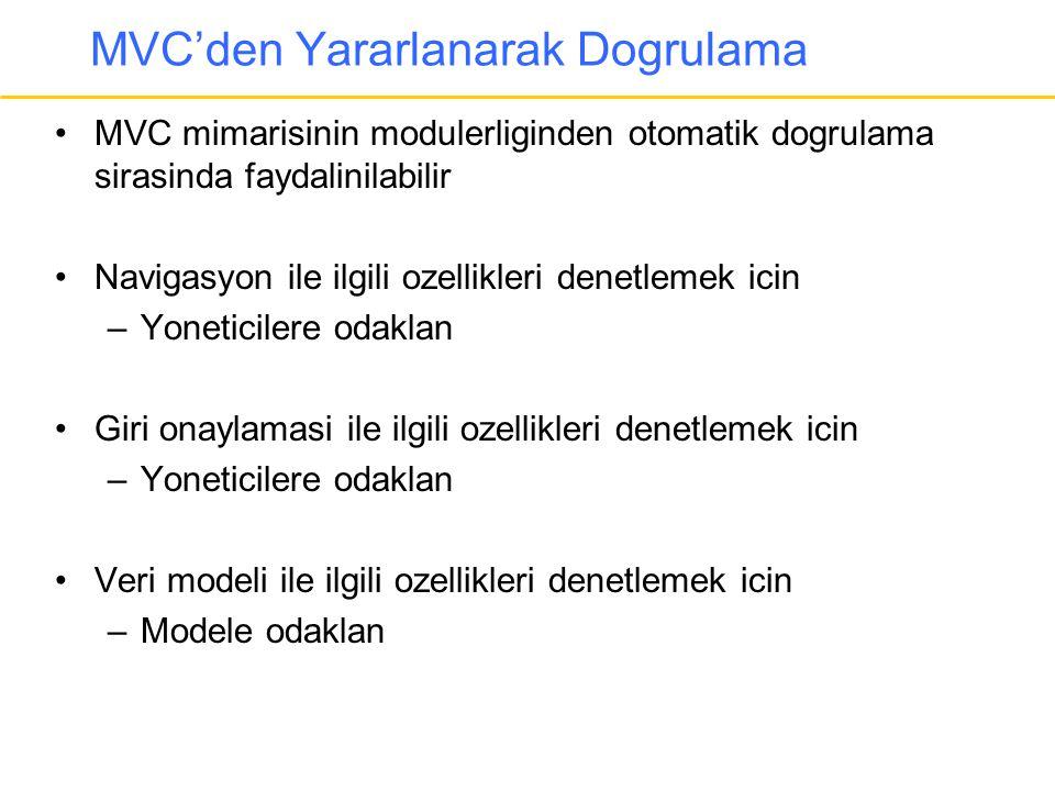MVC'den Yararlanarak Dogrulama •MVC mimarisinin modulerliginden otomatik dogrulama sirasinda faydalinilabilir •Navigasyon ile ilgili ozellikleri denet