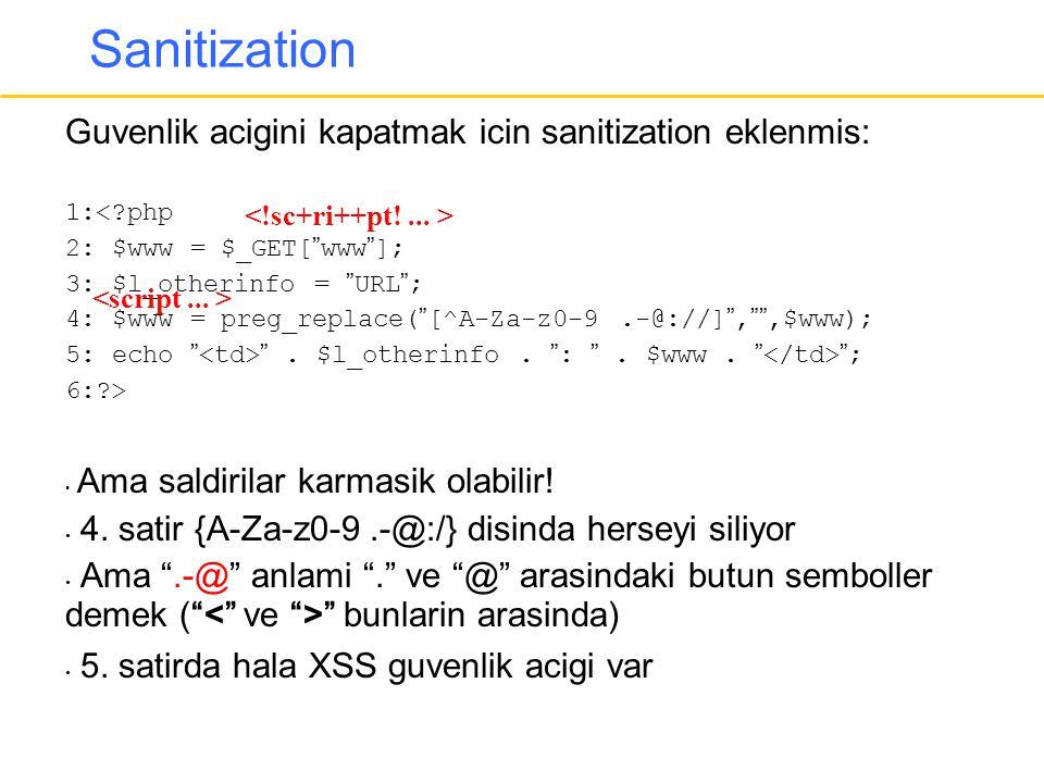 "Sanitization Guvenlik acigini kapatmak icin sanitization eklenmis: 1:<?php 2: $www = $_GET[""www""]; 3: $l_otherinfo = ""URL""; 4: $www = preg_replace(""[^"
