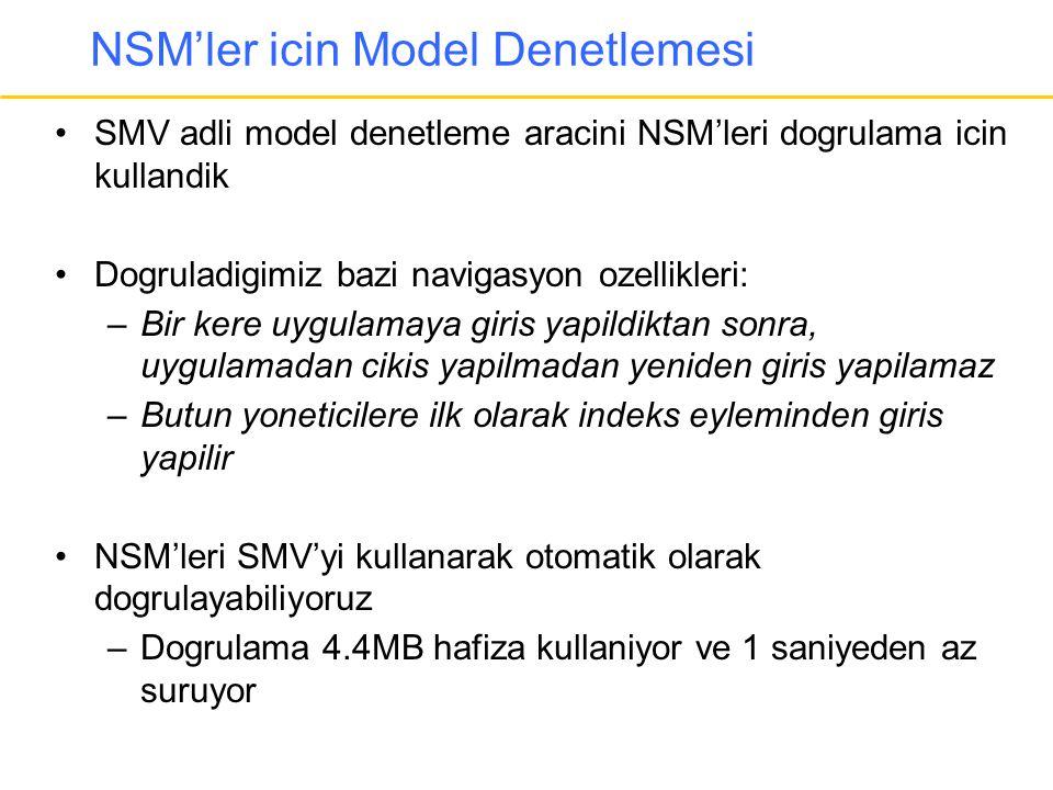 NSM'ler icin Model Denetlemesi •SMV adli model denetleme aracini NSM'leri dogrulama icin kullandik •Dogruladigimiz bazi navigasyon ozellikleri: –Bir k
