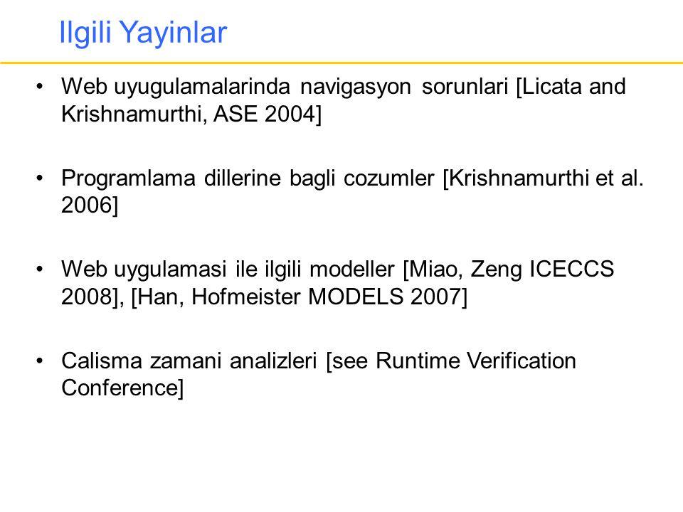 Ilgili Yayinlar •Web uyugulamalarinda navigasyon sorunlari [Licata and Krishnamurthi, ASE 2004] •Programlama dillerine bagli cozumler [Krishnamurthi e