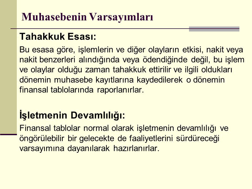 Muhasebenin Varsayımları Tahakkuk Esası: Bu esasa göre, işlemlerin ve diğer olayların etkisi, nakit veya nakit benzerleri alındığında veya ödendiğinde