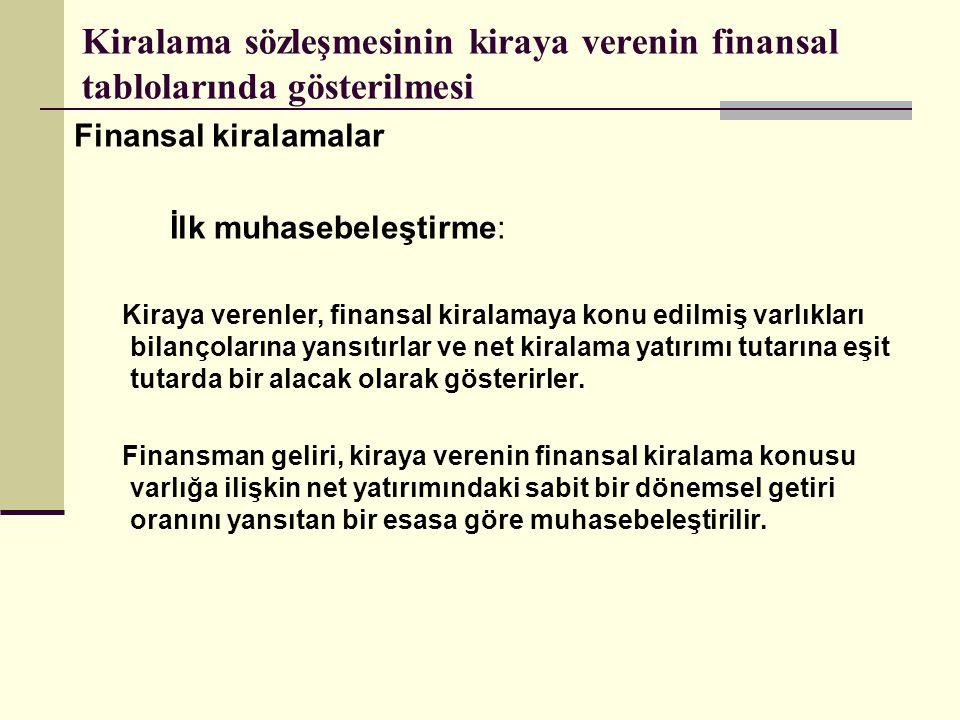 Kiralama sözleşmesinin kiraya verenin finansal tablolarında gösterilmesi Finansal kiralamalar İlk muhasebeleştirme: Kiraya verenler, finansal kiralama