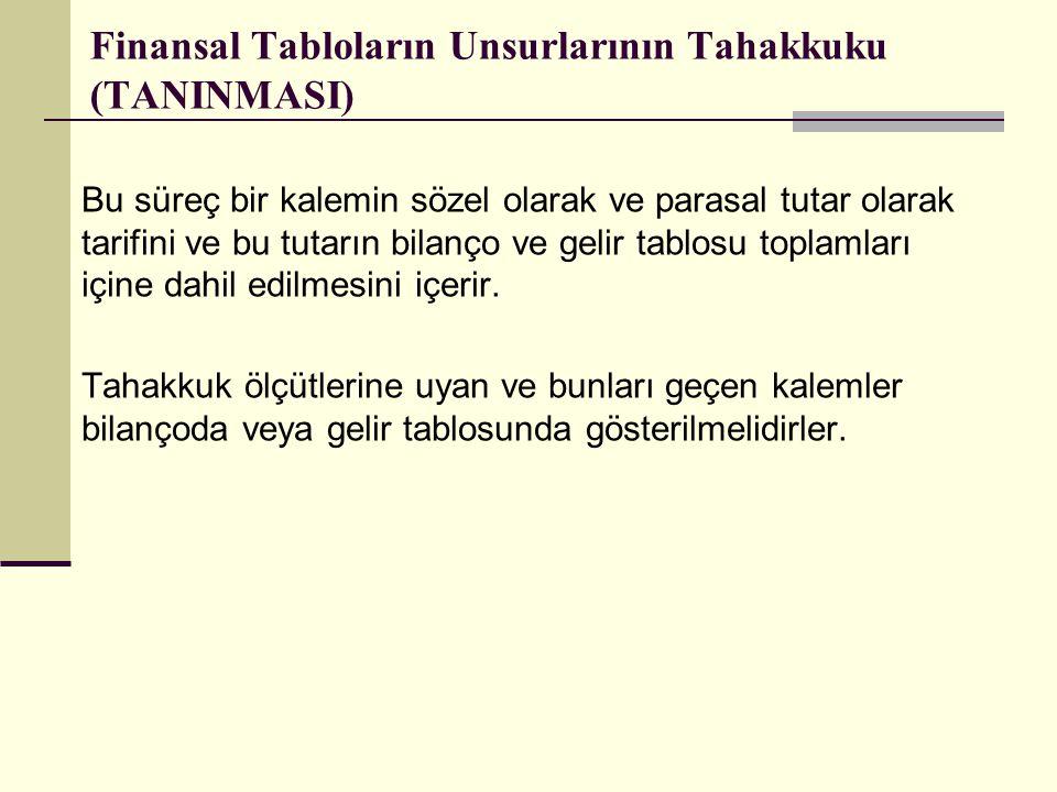 Finansal Tabloların Unsurlarının Tahakkuku (TANINMASI) Bu süreç bir kalemin sözel olarak ve parasal tutar olarak tarifini ve bu tutarın bilanço ve gel