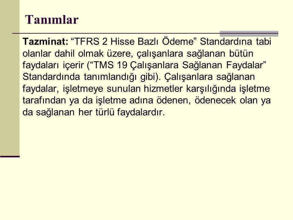 """Tanımlar Tazminat: """"TFRS 2 Hisse Bazlı Ödeme"""" Standardına tabi olanlar dahil olmak üzere, çalışanlara sağlanan bütün faydaları içerir (""""TMS 19 Çalışan"""