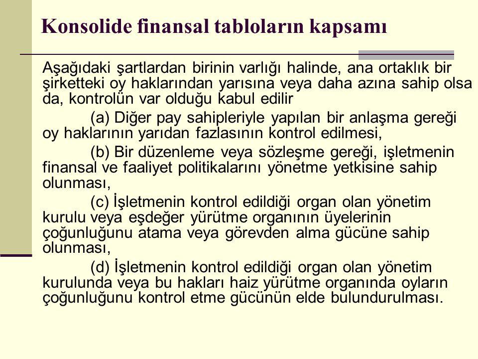 Konsolide finansal tabloların kapsamı Aşağıdaki şartlardan birinin varlığı halinde, ana ortaklık bir şirketteki oy haklarından yarısına veya daha azın