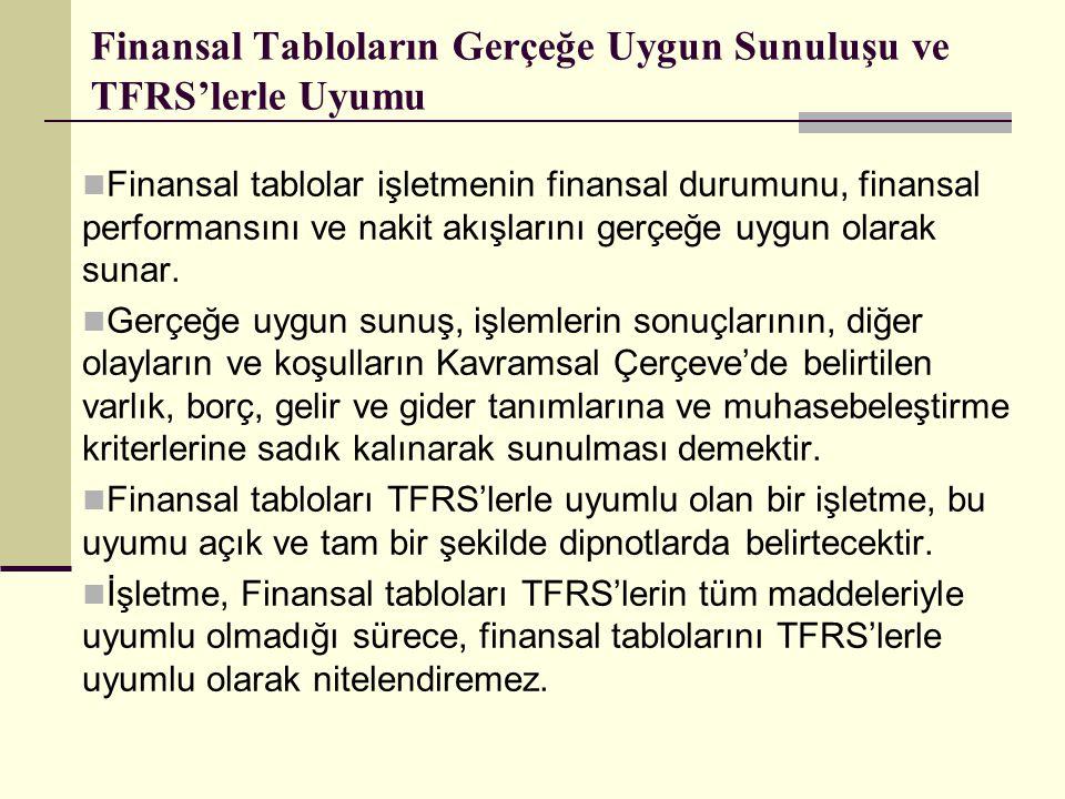 Finansal Tabloların Gerçeğe Uygun Sunuluşu ve TFRS'lerle Uyumu  Finansal tablolar işletmenin finansal durumunu, finansal performansını ve nakit akışl