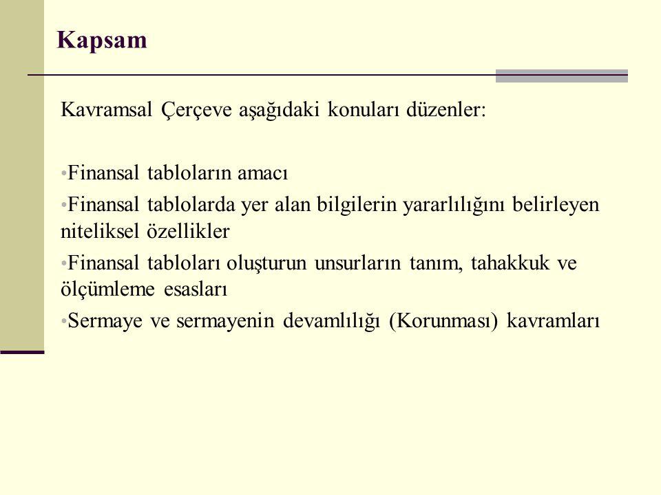 Kapsam İşletme; bu Standardı, Türkiye Finansal Raporlama Standartlarına (TFRS'lere) göre hazırlanan ve sunulan genel amaçlı finansal tablolara uygular.