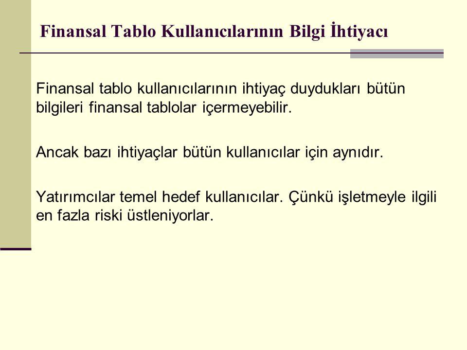 Finansal Tabloların Unsurlarının Tahakkuku (TANINMASI) Bu süreç bir kalemin sözel olarak ve parasal tutar olarak tarifini ve bu tutarın bilanço ve gelir tablosu toplamları içine dahil edilmesini içerir.
