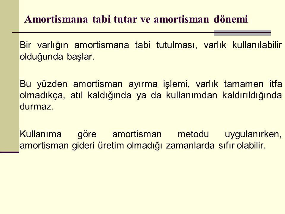 Amortismana tabi tutar ve amortisman dönemi Bir varlığın amortismana tabi tutulması, varlık kullanılabilir olduğunda başlar. Bu yüzden amortisman ayır