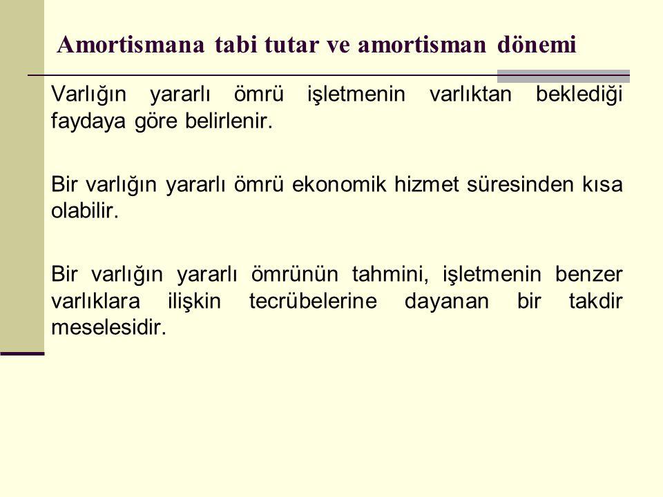 Amortismana tabi tutar ve amortisman dönemi Varlığın yararlı ömrü işletmenin varlıktan beklediği faydaya göre belirlenir. Bir varlığın yararlı ömrü ek