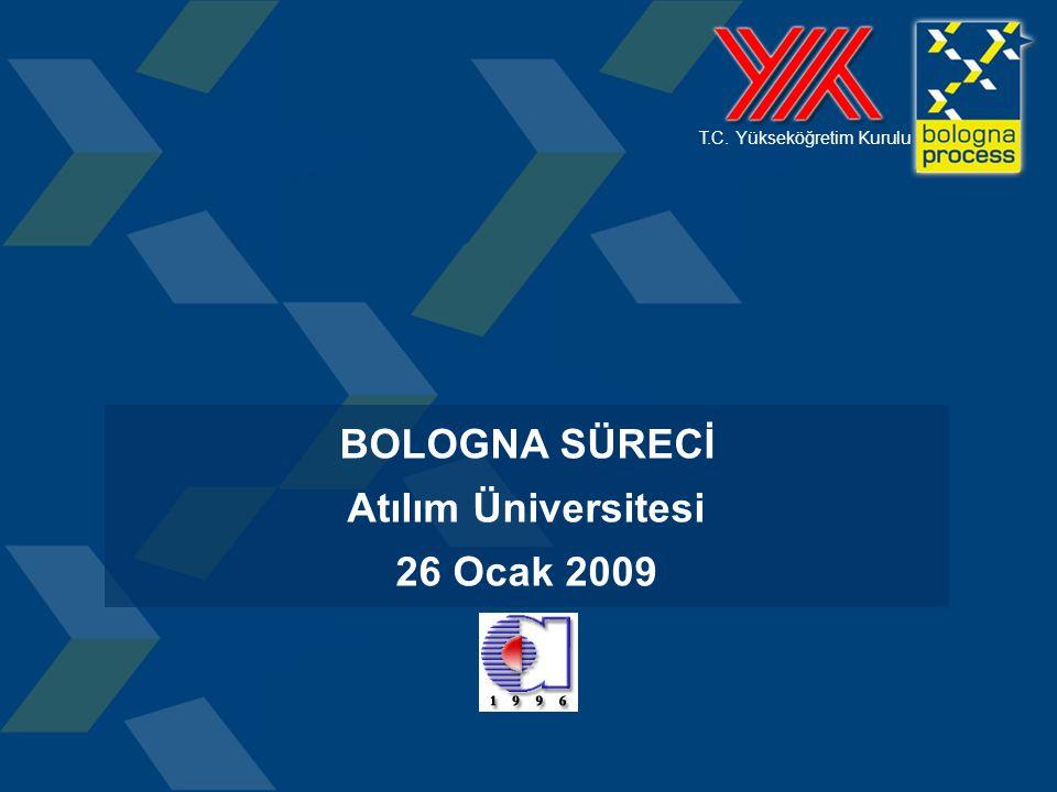 1 T.C. Yükseköğretim Kurulu BOLOGNA SÜRECİ Atılım Üniversitesi 26 Ocak 2009