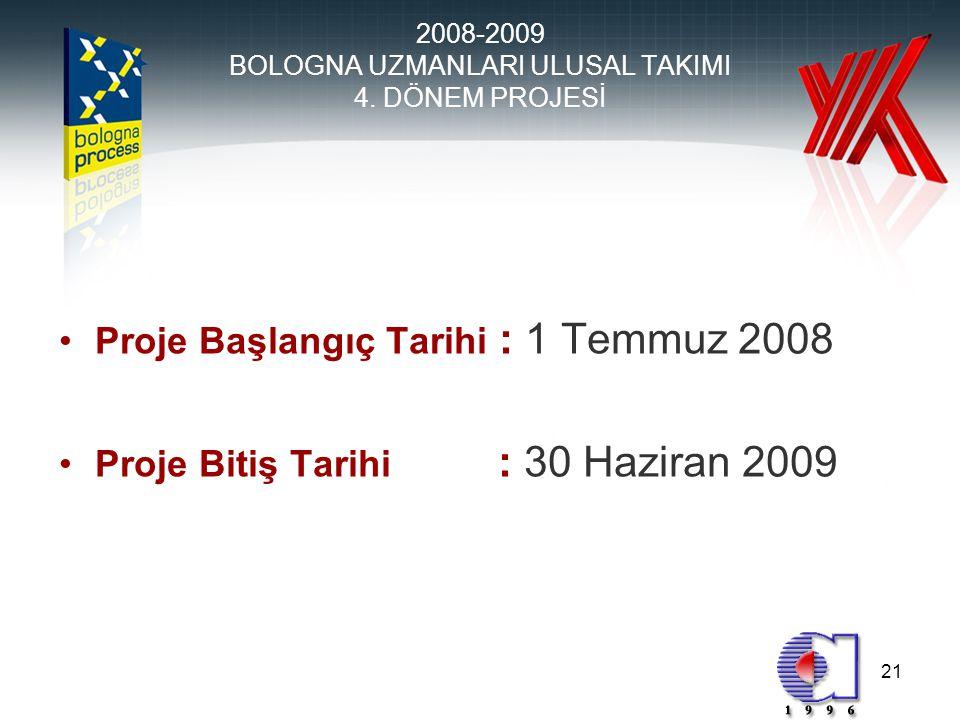 21 •Proje Başlangıç Tarihi : 1 Temmuz 2008 •Proje Bitiş Tarihi : 30 Haziran 2009 2008-2009 BOLOGNA UZMANLARI ULUSAL TAKIMI 4.