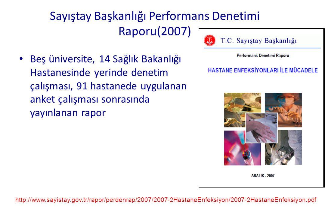 Sayıştay Başkanlığı Performans Denetimi Raporu(2007) • Beş üniversite, 14 Sağlık Bakanlığı Hastanesinde yerinde denetim çalışması, 91 hastanede uygula