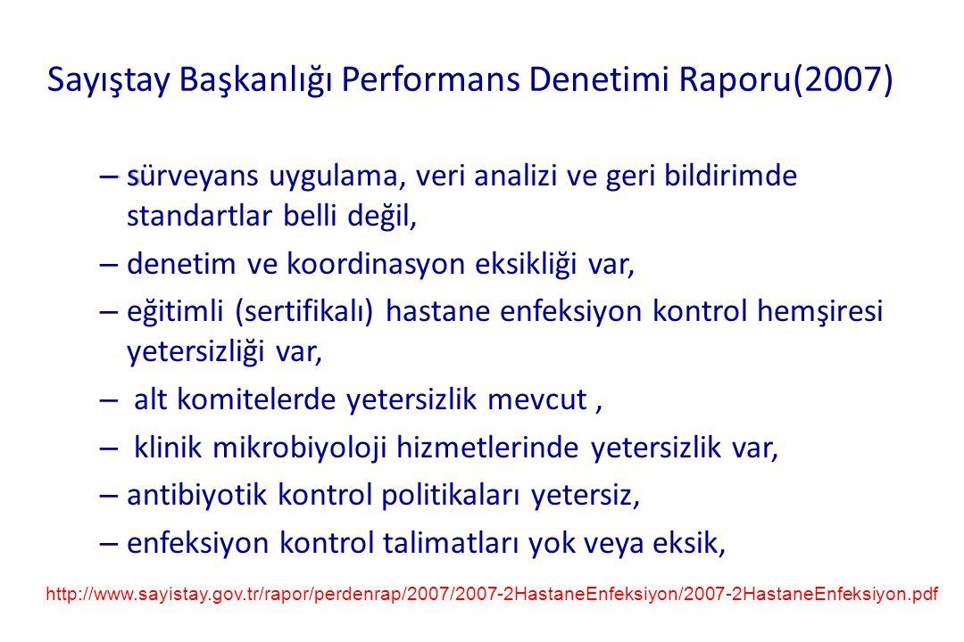 Sayıştay Başkanlığı Performans Denetimi Raporu(2007) – s – sürveyans uygulama, veri analizi ve geri bildirimde standartlar belli değil, – denetim ve k