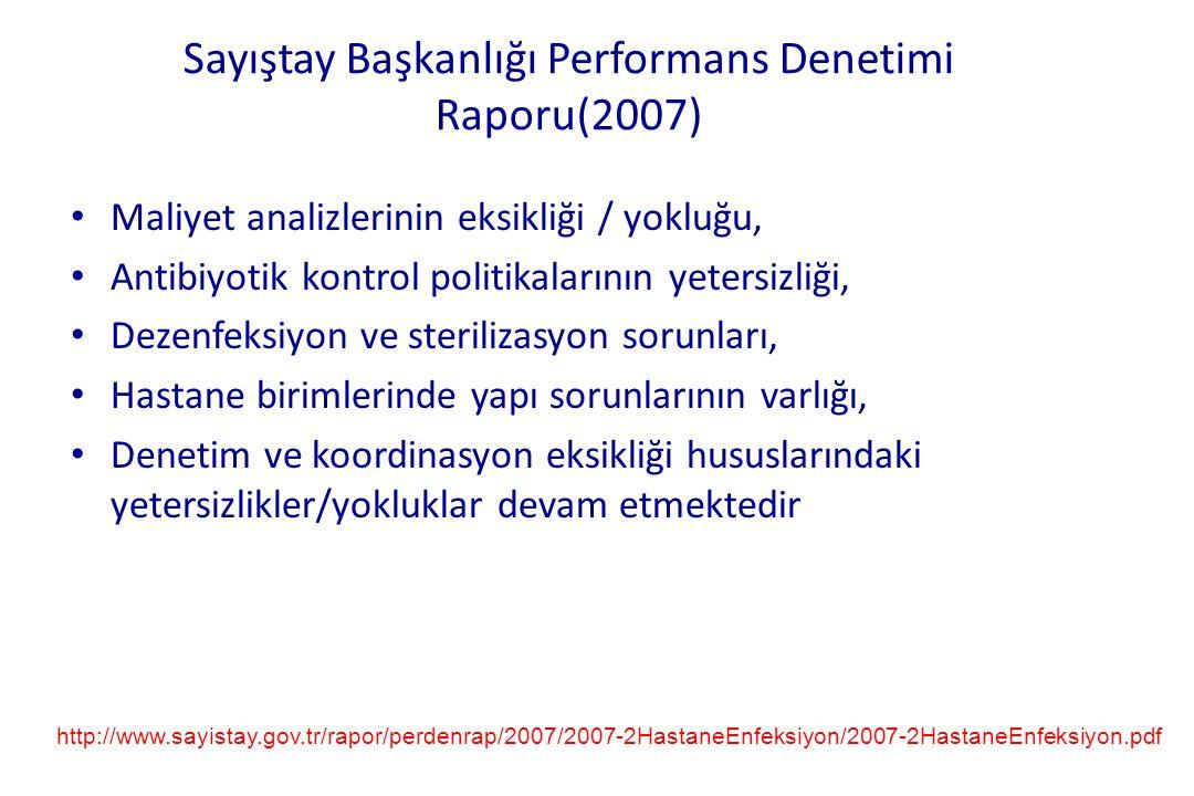 Sayıştay Başkanlığı Performans Denetimi Raporu(2007) • Maliyet analizlerinin eksikliği / yokluğu, • Antibiyotik kontrol politikalarının yetersizliği,