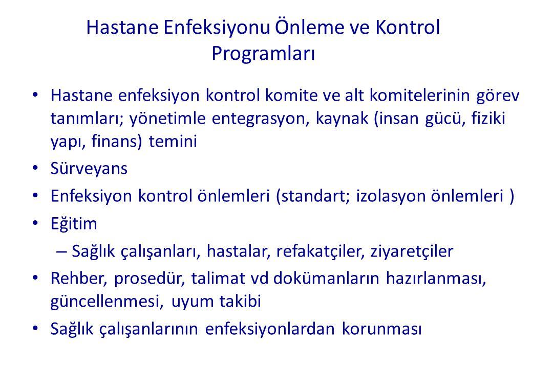 Hastane Enfeksiyonu Önleme ve Kontrol Programları • Hastane enfeksiyon kontrol komite ve alt komitelerinin görev tanımları; yönetimle entegrasyon, kay