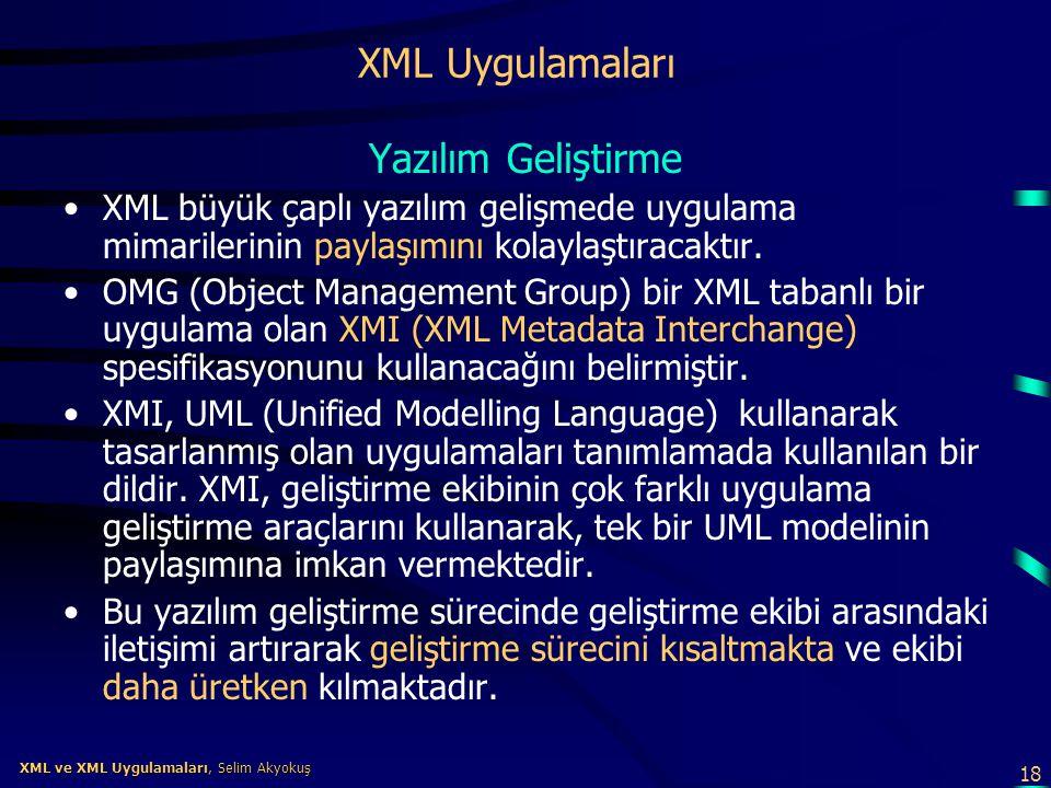 18 XML ve XML Uygulamaları, Selim Akyokuş XML ve XML Uygulamaları, Selim Akyokuş XML Uygulamaları Yazılım Geliştirme •XML büyük çaplı yazılım gelişmed