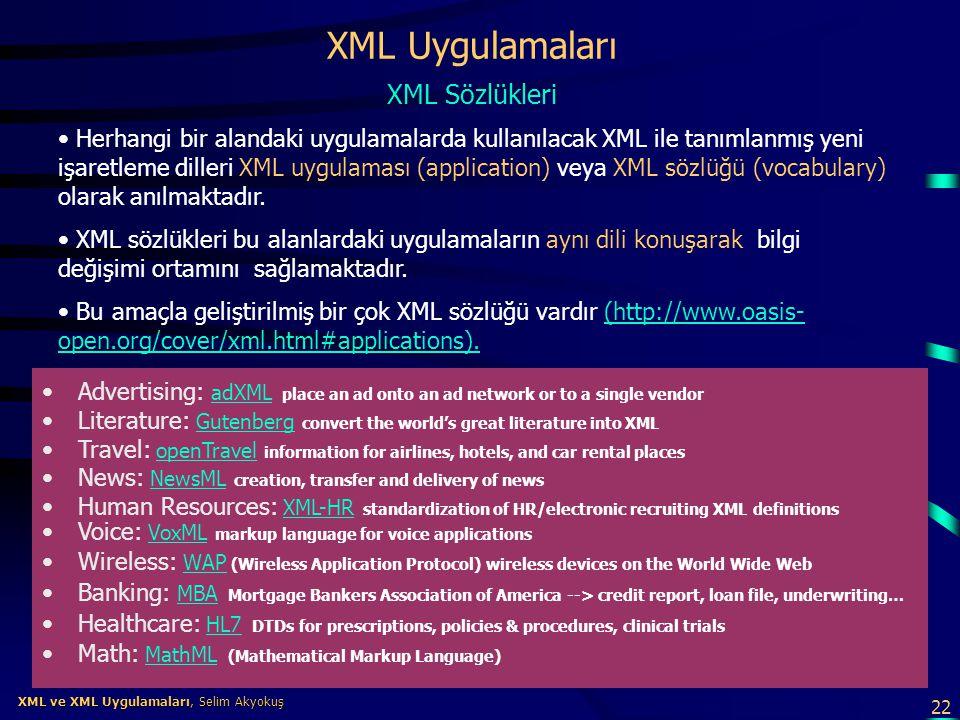 22 XML ve XML Uygulamaları, Selim Akyokuş XML ve XML Uygulamaları, Selim Akyokuş XML Uygulamaları •Advertising: adXML place an ad onto an ad network o