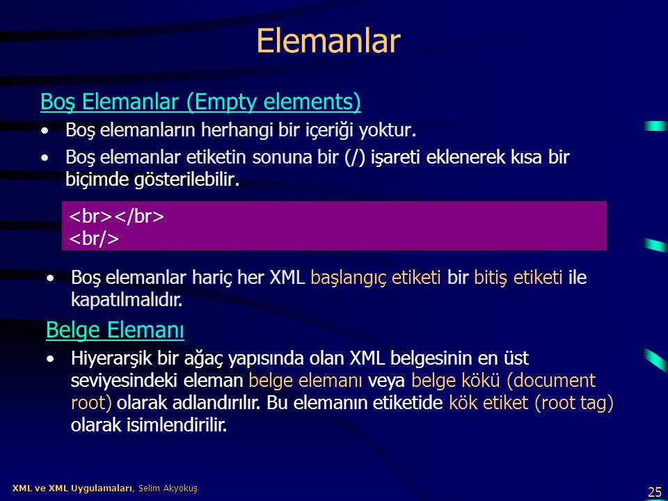 25 XML ve XML Uygulamaları, Selim Akyokuş XML ve XML Uygulamaları, Selim Akyokuş Elemanlar Boş Elemanlar (Empty elements) •Boş elemanların herhangi bi