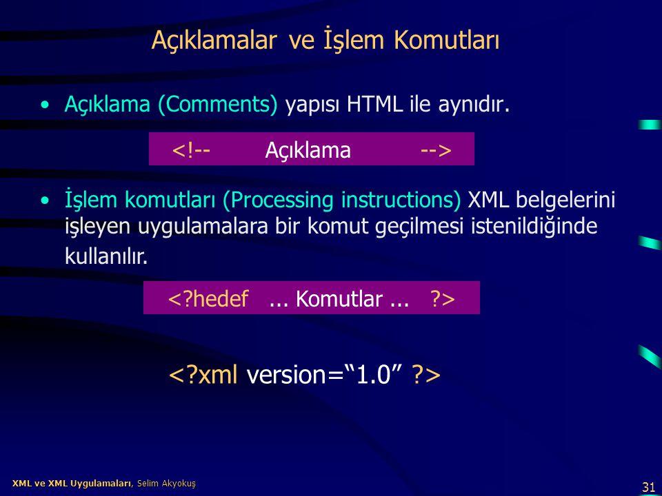 31 XML ve XML Uygulamaları, Selim Akyokuş XML ve XML Uygulamaları, Selim Akyokuş Açıklamalar ve İşlem Komutları •Açıklama (Comments) yapısı HTML ile a