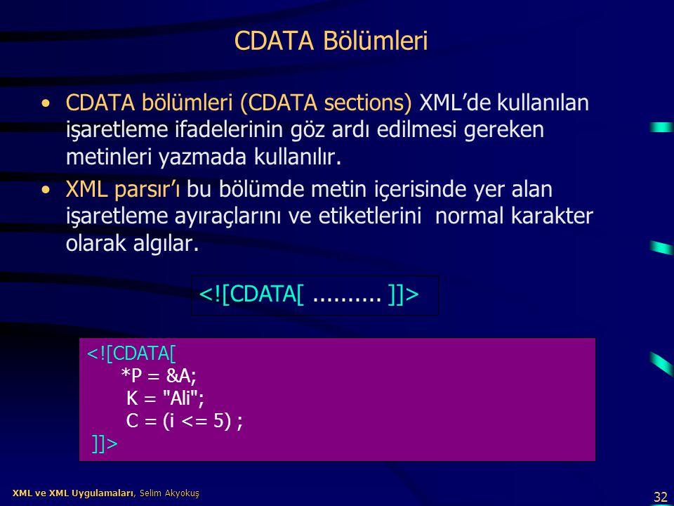 32 XML ve XML Uygulamaları, Selim Akyokuş XML ve XML Uygulamaları, Selim Akyokuş CDATA Bölümleri •CDATA bölümleri (CDATA sections) XML'de kullanılan i