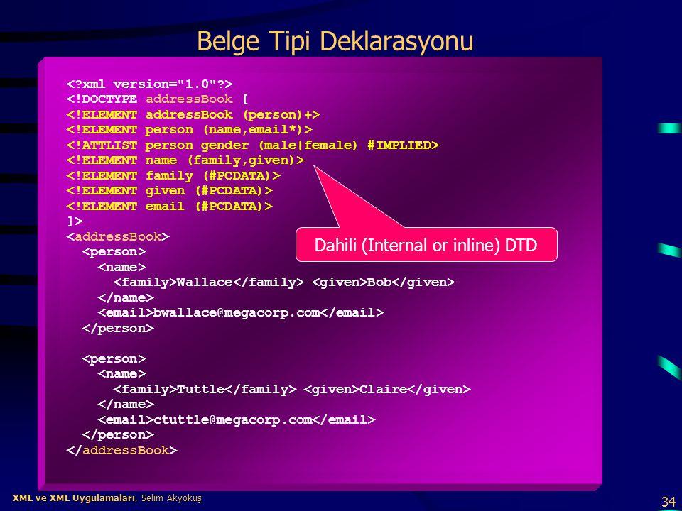 34 XML ve XML Uygulamaları, Selim Akyokuş XML ve XML Uygulamaları, Selim Akyokuş Belge Tipi Deklarasyonu <!DOCTYPE addressBook [ ]> Wallace Bob bwalla