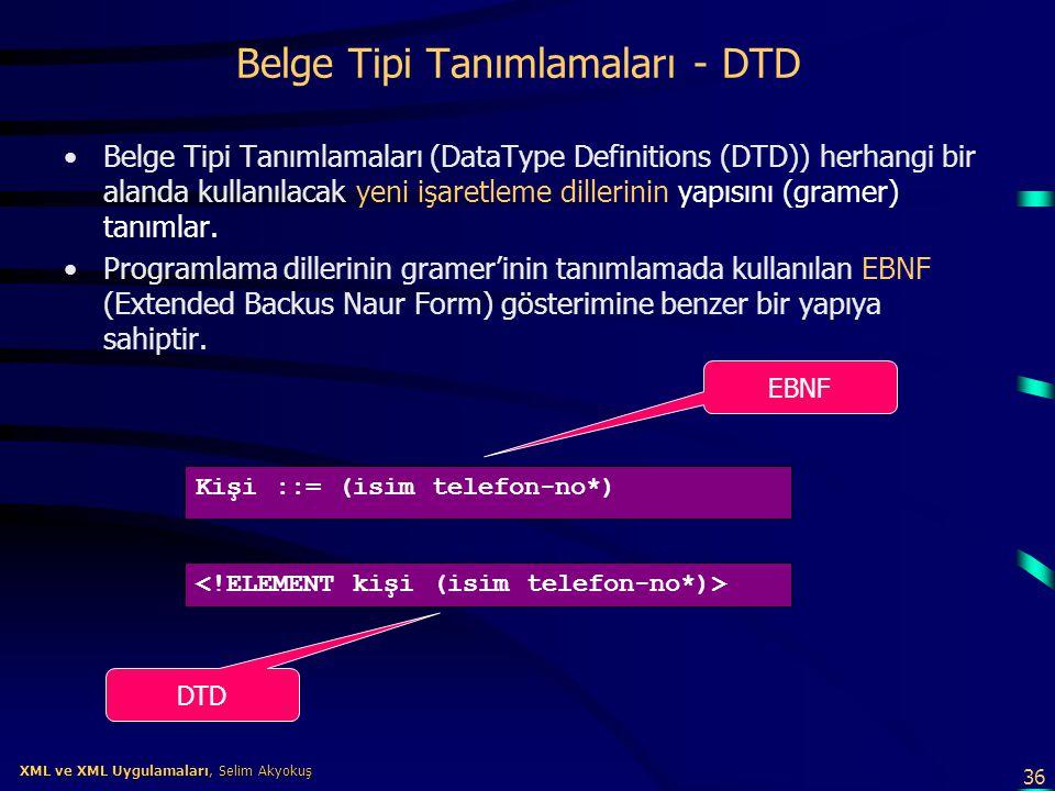 36 XML ve XML Uygulamaları, Selim Akyokuş XML ve XML Uygulamaları, Selim Akyokuş Belge Tipi Tanımlamaları - DTD •Belge Tipi Tanımlamaları (DataType De
