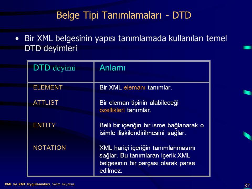 37 XML ve XML Uygulamaları, Selim Akyokuş XML ve XML Uygulamaları, Selim Akyokuş Belge Tipi Tanımlamaları - DTD •Bir XML belgesinin yapısı tanımlamada