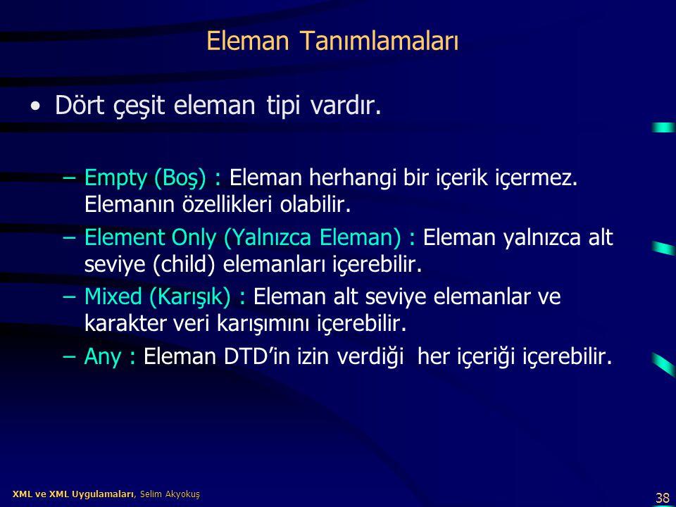 38 XML ve XML Uygulamaları, Selim Akyokuş XML ve XML Uygulamaları, Selim Akyokuş Eleman Tanımlamaları •Dört çeşit eleman tipi vardır. –Empty (Boş) : E