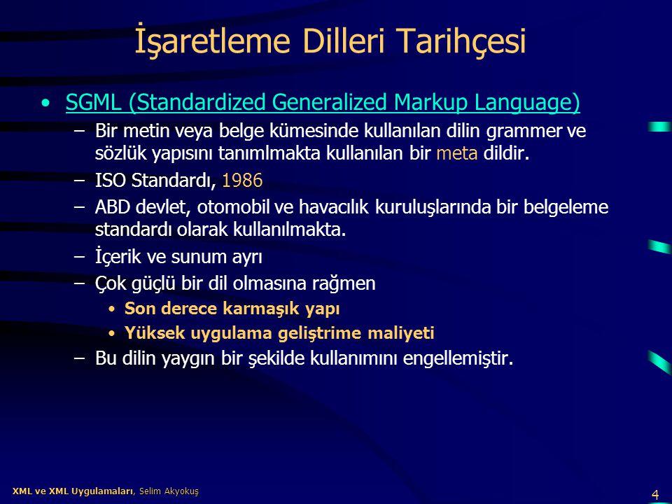 4 XML ve XML Uygulamaları, Selim Akyokuş XML ve XML Uygulamaları, Selim Akyokuş İşaretleme Dilleri Tarihçesi •SGML (Standardized Generalized Markup La