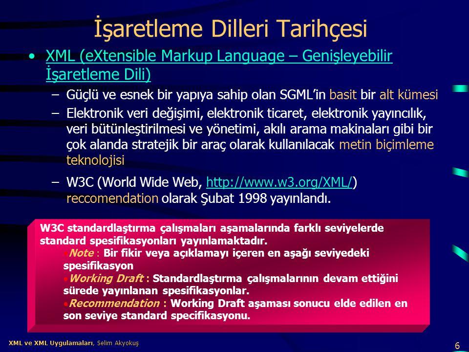 6 XML ve XML Uygulamaları, Selim Akyokuş XML ve XML Uygulamaları, Selim Akyokuş İşaretleme Dilleri Tarihçesi •XML (eXtensible Markup Language – Genişl