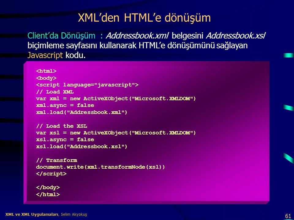 61 XML ve XML Uygulamaları, Selim Akyokuş XML ve XML Uygulamaları, Selim Akyokuş XML'den HTML'e dönüşüm // Load XML var xml = new ActiveXObject(