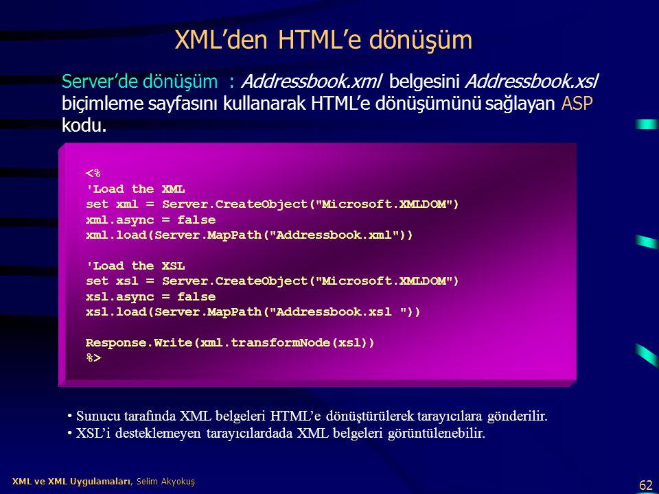 62 XML ve XML Uygulamaları, Selim Akyokuş XML ve XML Uygulamaları, Selim Akyokuş XML'den HTML'e dönüşüm Server'de dönüşüm : Addressbook.xml belgesini