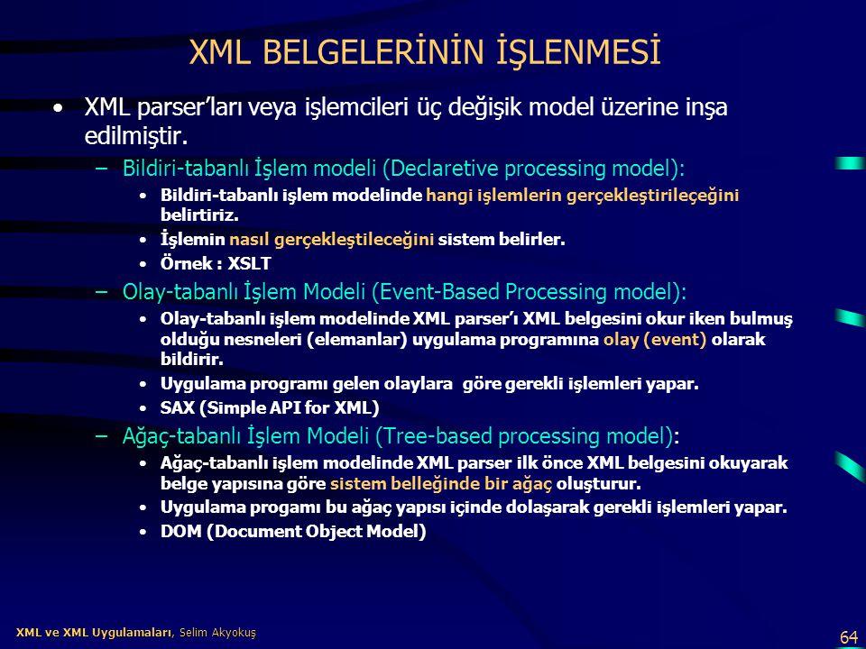 64 XML ve XML Uygulamaları, Selim Akyokuş XML ve XML Uygulamaları, Selim Akyokuş XML BELGELERİNİN İŞLENMESİ •XML parser'ları veya işlemcileri üç değiş