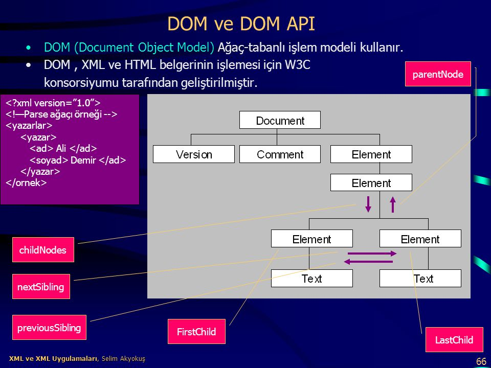 66 XML ve XML Uygulamaları, Selim Akyokuş XML ve XML Uygulamaları, Selim Akyokuş DOM ve DOM API •DOM (Document Object Model) Ağaç-tabanlı işlem modeli