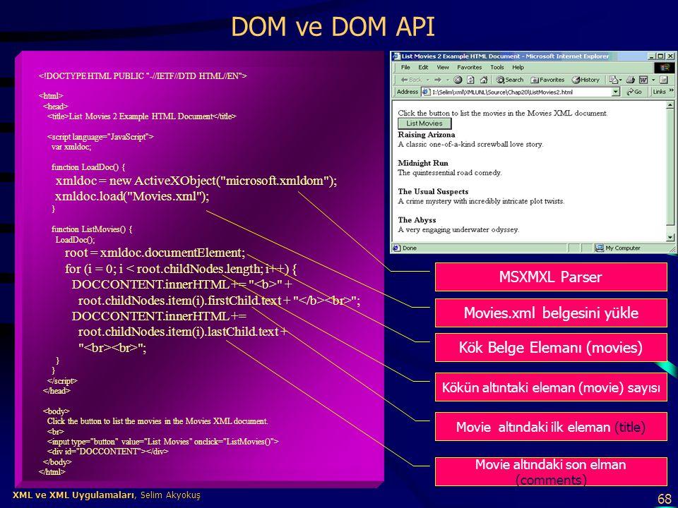 68 XML ve XML Uygulamaları, Selim Akyokuş XML ve XML Uygulamaları, Selim Akyokuş DOM ve DOM API List Movies 2 Example HTML Document var xmldoc; functi
