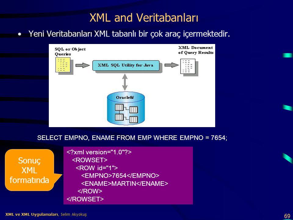 69 XML ve XML Uygulamaları, Selim Akyokuş XML ve XML Uygulamaları, Selim Akyokuş XML and Veritabanları •Yeni Veritabanları XML tabanlı bir çok araç iç