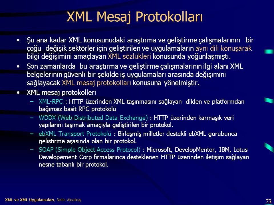 73 XML ve XML Uygulamaları, Selim Akyokuş XML ve XML Uygulamaları, Selim Akyokuş XML Mesaj Protokolları •Şu ana kadar XML konusunudaki araştırma ve ge