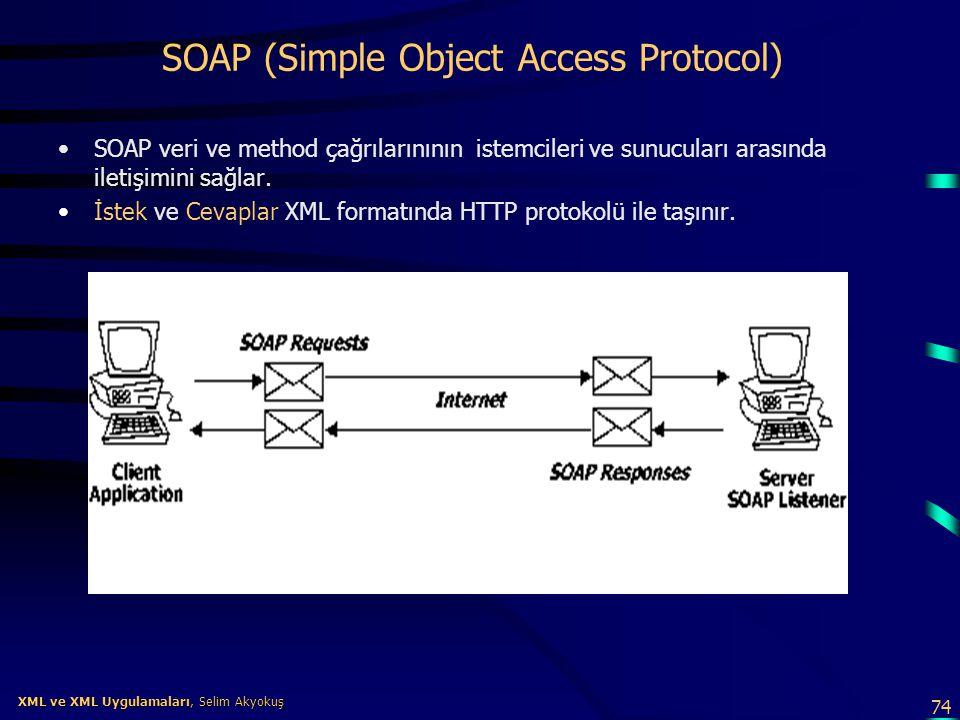 74 XML ve XML Uygulamaları, Selim Akyokuş XML ve XML Uygulamaları, Selim Akyokuş SOAP (Simple Object Access Protocol) •SOAP veri ve method çağrılarını