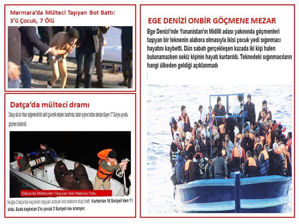 Datça'da mülteci dramı EGE DENİZİ ONBİR GÖÇMENE MEZAR Marmara'da Mülteci Taşıyan Bot Battı: 3'ü Çocuk, 7 Ölü