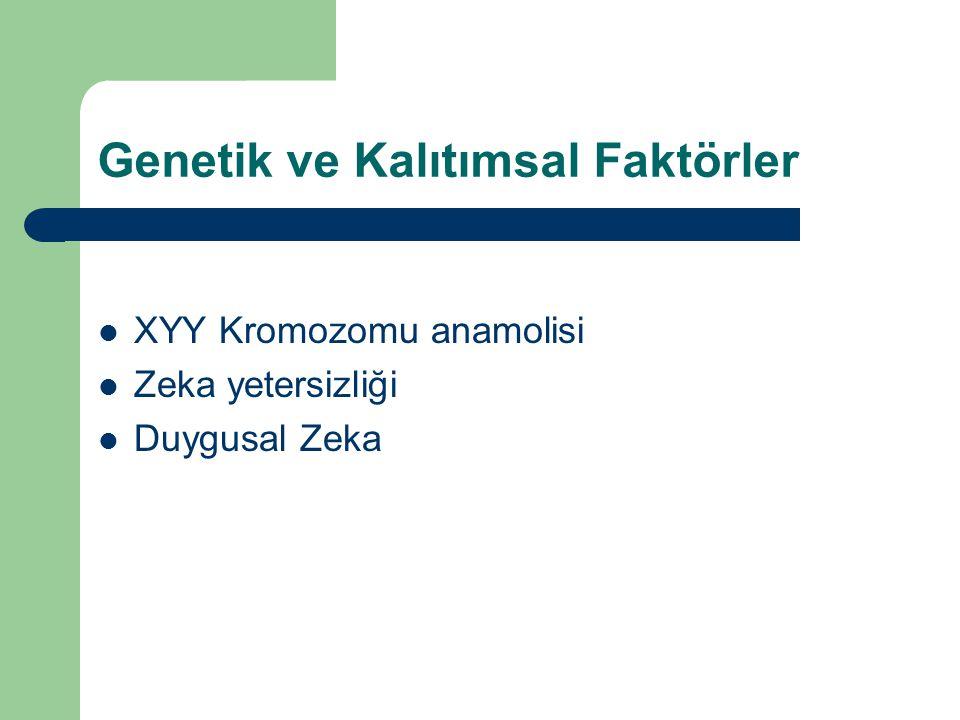 Genetik ve Kalıtımsal Faktörler  XYY Kromozomu anamolisi  Zeka yetersizliği  Duygusal Zeka