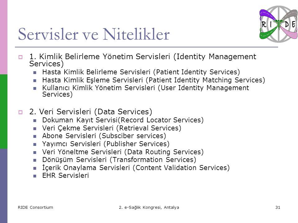 RIDE Consortium2.e-Sağlık Kongresi, Antalya31 Servisler ve Nitelikler  1.