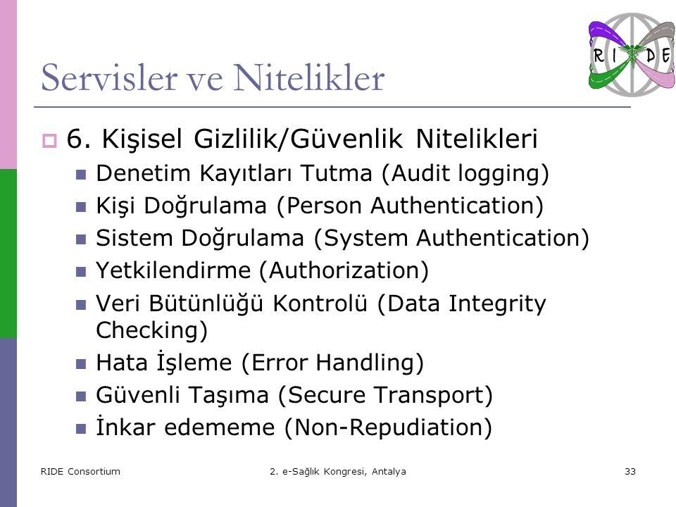 RIDE Consortium2.e-Sağlık Kongresi, Antalya33 Servisler ve Nitelikler  6.