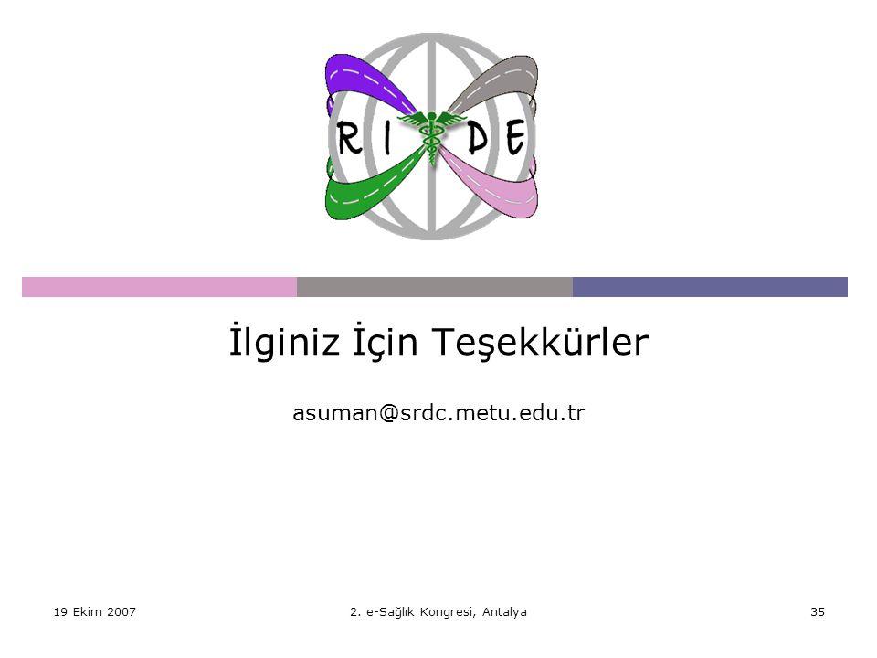 19 Ekim 20072. e-Sağlık Kongresi, Antalya35 İlginiz İçin Teşekkürler asuman@srdc.metu.edu.tr