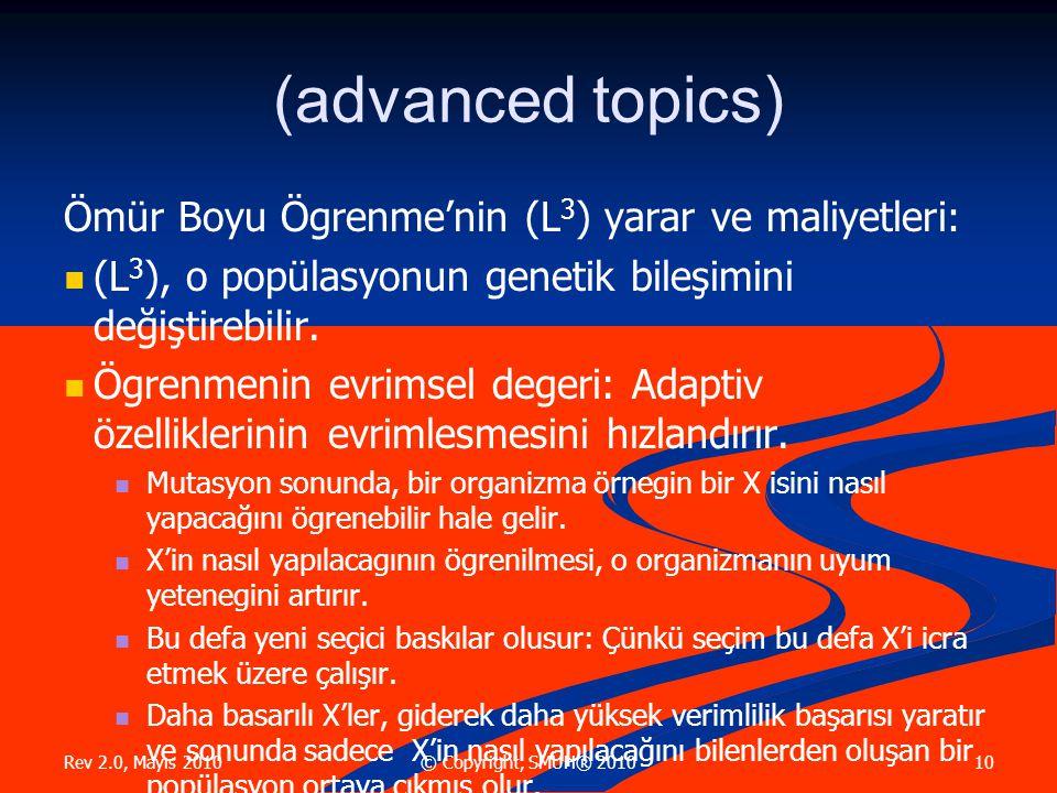 Rev 2.0, Mayıs 2010 10© Copyright, SMUH® 2010 (advanced topics) Ömür Boyu Ögrenme'nin (L 3 ) yarar ve maliyetleri :  (L 3 ), o popülasyonun genetik bileşimini değiştirebilir.